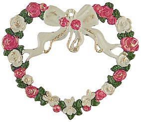 Pewter Rose Heart Wreath