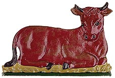 Lying Ox Pewter Figurine