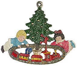 Children with Train Set Pewter Ornament