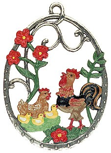 Hen and Rooster Pewter Ornament