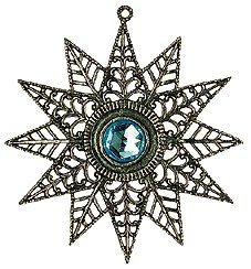 Pewter Tree Star with Aqua Stone