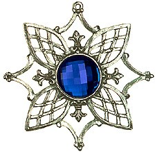 Pewter Tree Ornament with Blue stone - Style 1
