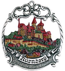 Nurnberg City Motif Pewter Ornament