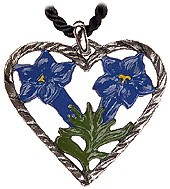 Gentian Heart Pewter Necklace