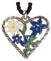 Edelweiss/Gentian Heart Pewter Necklace