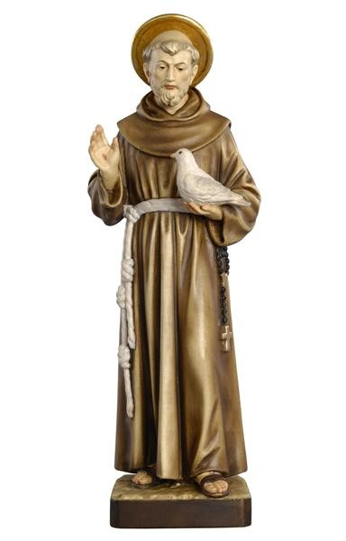 St. Francis with Dove Wooden Figurine