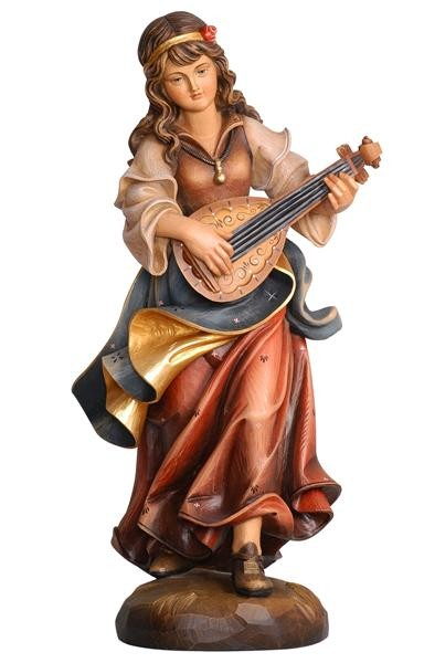 Mandolin Player Wooden Figurine