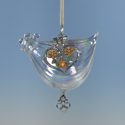 Glass and yellow pewter hen ornament