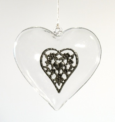 Glass heart pewter ornament