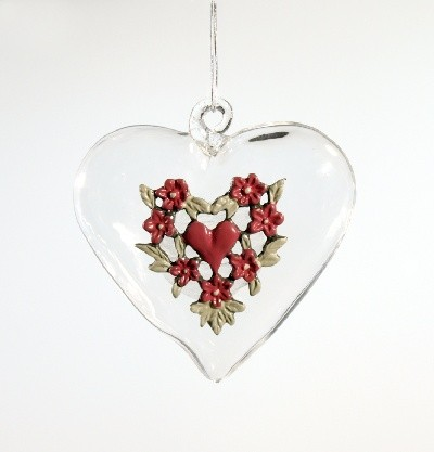 Glass heart pewter ornament-red