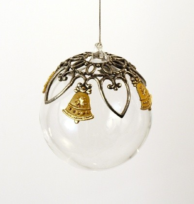 Glass Ball Bell Ornament-Yellow