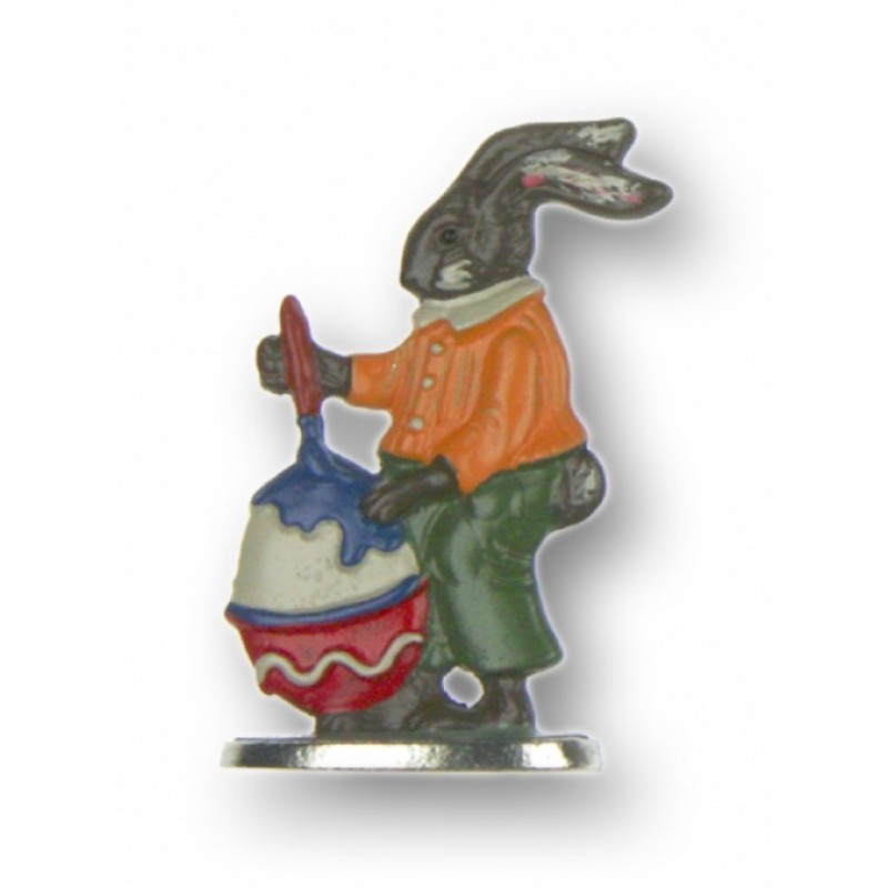 Brown Easter Bunny Boy Painting Egg - Standing