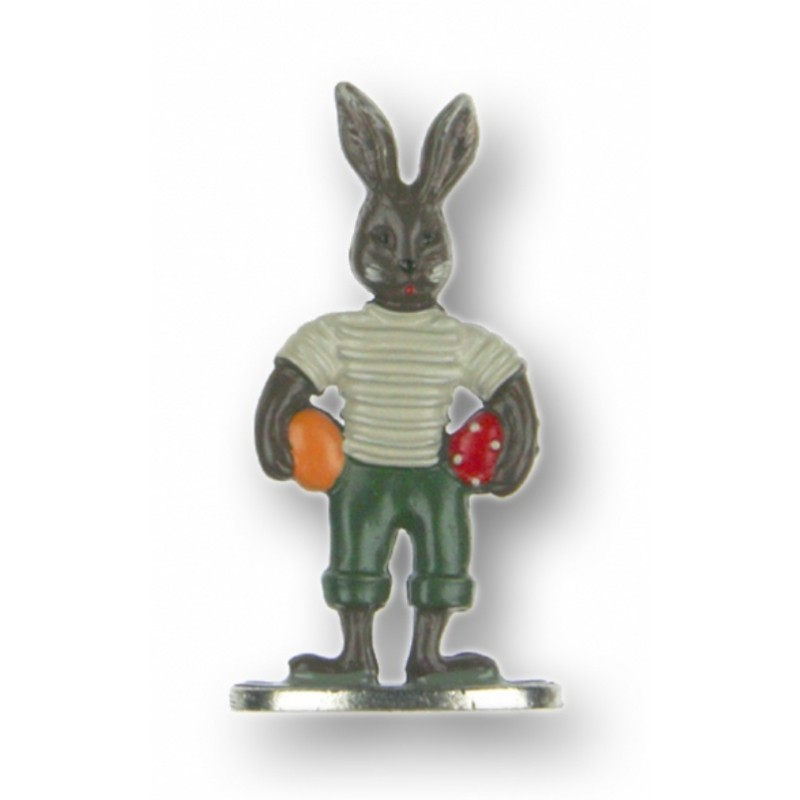 Brown Easter Bunny Boy with 2 Eggs - Standing