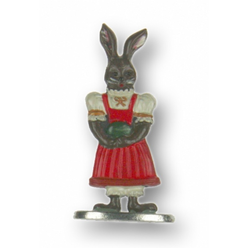 Brown Easter Bunny Girl with Single Egg - Standing