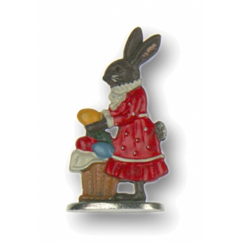 Brown Easter Bunny Girl with Large Basket - Standing