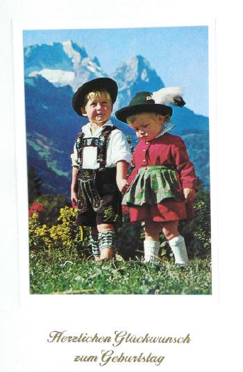 Children Alps Happy Birthday Postcard