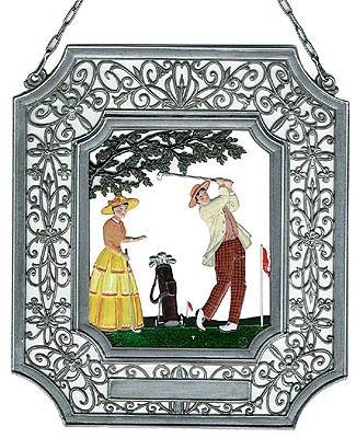 Pewter Golf Ornament - with Filigree Frame