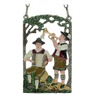 Two Musicians Pewter Wall Plaque