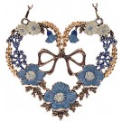Heart with Blue Flowers and Bow