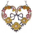 Heart with Yellow Flowers and Bow