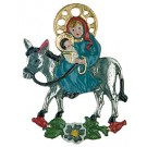 Mary on Donkey pewter ornament