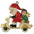 Santa on Scooter Pewter Ornament