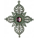 Drop Pewter Ornament with Iris Stone