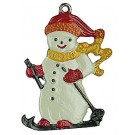 Snowman on Skis Pewter Ornament