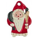 Santa with Switch Pewter Ornament