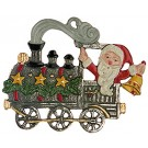 Santa Riding Train Pewter Ornament
