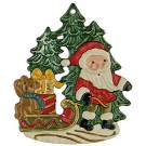Santa and Teddy Pewter Ornament