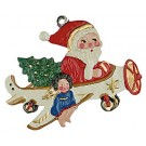 Santa in Airplane Pewter Ornament