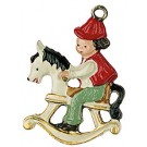 Elf on Rocking Horse Pewter Charm