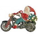 Santa on Motorcycle Pewter Ornament