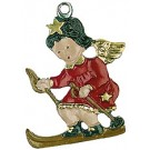 Skiing Baby Angel Pewter Ornament