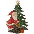 Santa and Christmas Tree Pewter Ornament