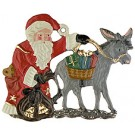 Santa and Donkey Pewter Ornament