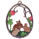 Bunny Rabbits Pewter Ornament