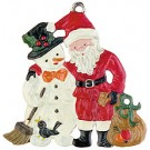 Santa and Snowman Pewter Ornament