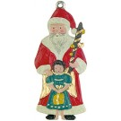 Santa and Angel Pewter Ornament