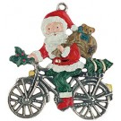 Santa on Bike Pewter Ornament