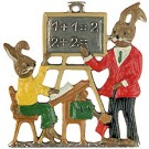 Bunny School Pewter Ornament