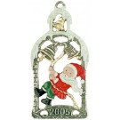Santa Ringing Bell Pewter Ornament