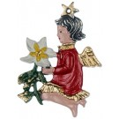 Christmas Flower Baby Angel Pewter Ornament