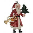 Santa with Fanfare Pewter Ornament