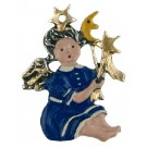 Moon and Stars Baby Angel Pewter Ornament