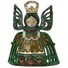 Angel Standing Bow Green with Crown Ornament
