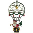 Santa in Hot Air Balloon Pewter Ornament