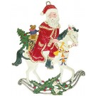 Santa on Rocking Horse Pewter Ornaments