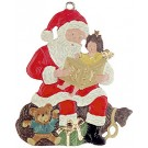 "Santa reading a book, ornament (2.6"")"